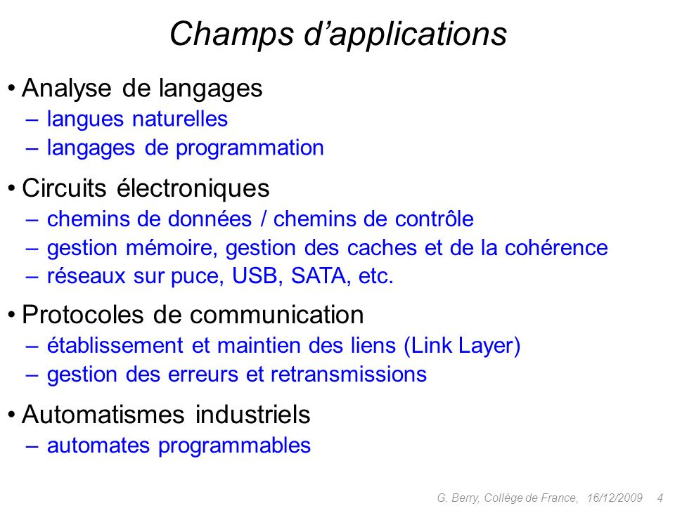 Champs d'applications