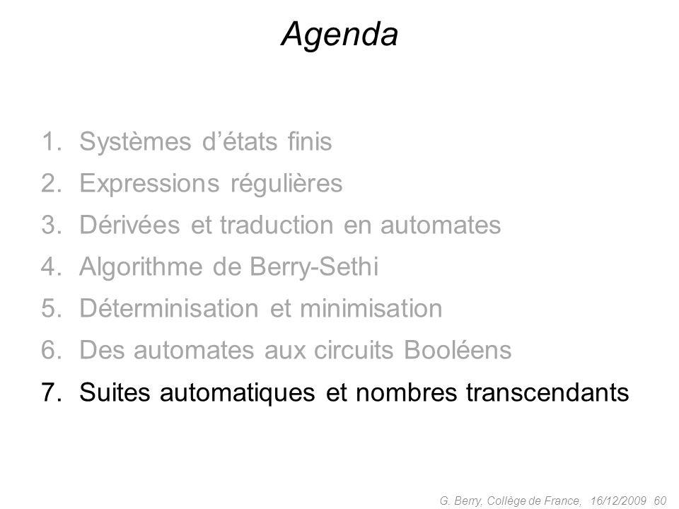 Agenda Systèmes d'états finis Expressions régulières