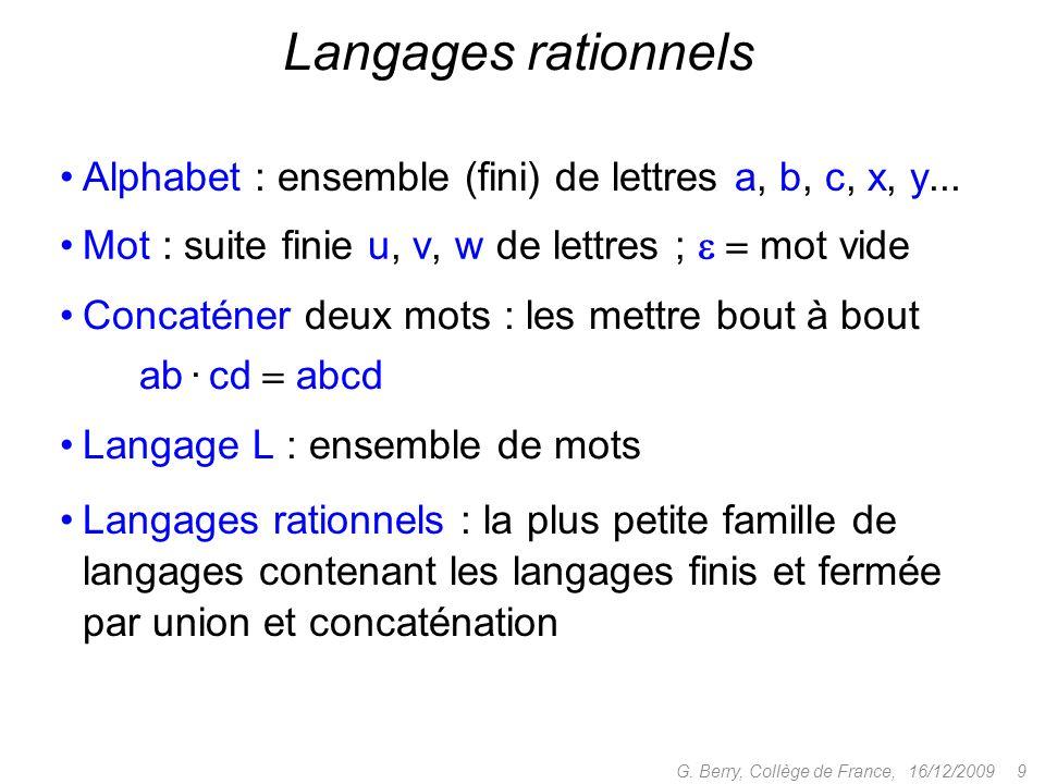 Langages rationnels Alphabet : ensemble (fini) de lettres a, b, c, x, y... Mot : suite finie u, v, w de lettres ;   mot vide.