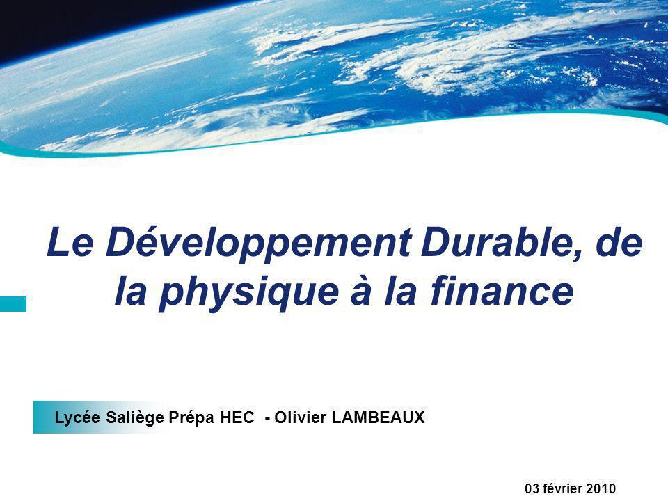 Le Développement Durable, de la physique à la finance