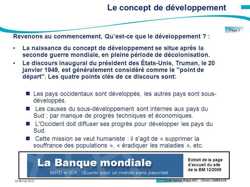 Le concept de développement