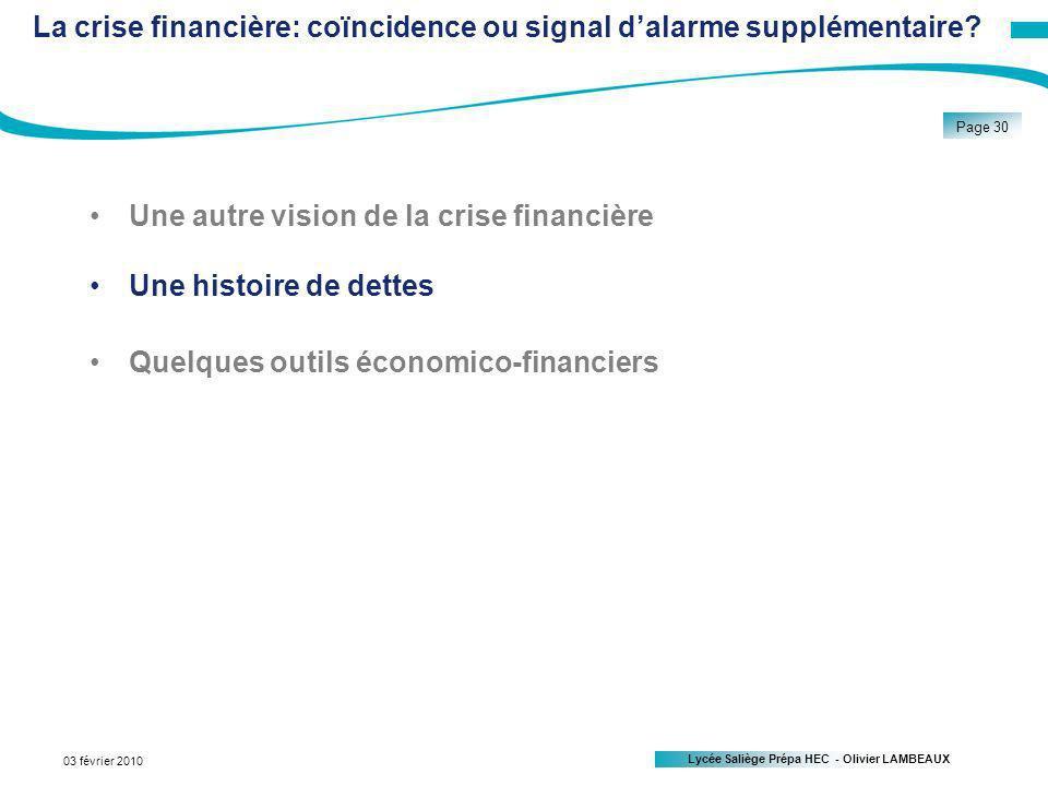 La crise financière: coïncidence ou signal d'alarme supplémentaire
