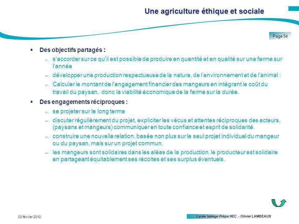 Une agriculture éthique et sociale