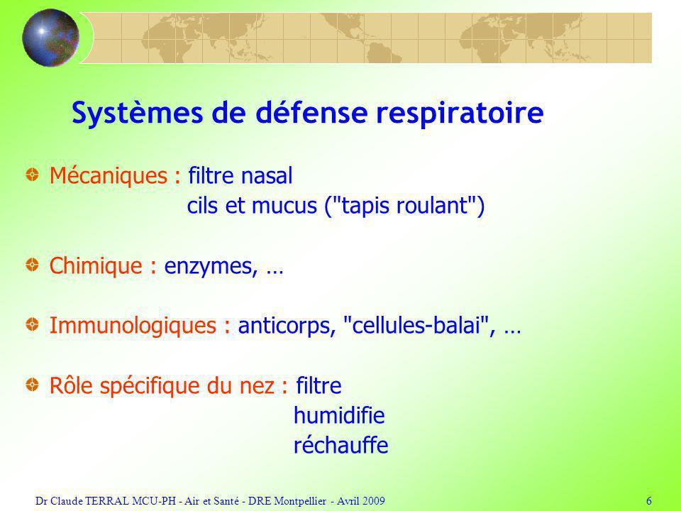 Systèmes de défense respiratoire