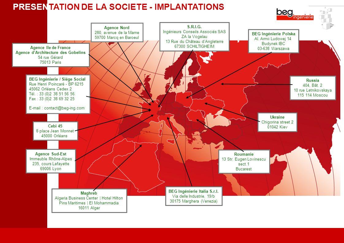 PRESENTATION DE LA SOCIETE - IMPLANTATIONS