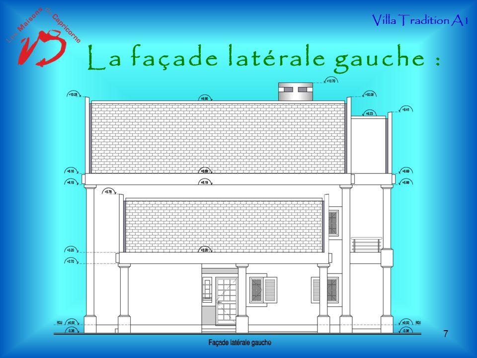 La façade latérale gauche :