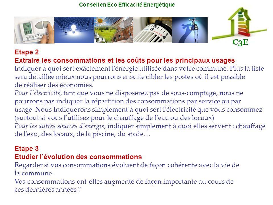 Etape 2 Extraire les consommations et les coûts pour les principaux usages.