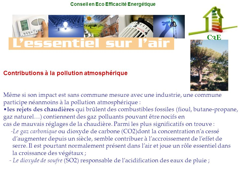 Contributions à la pollution atmosphérique
