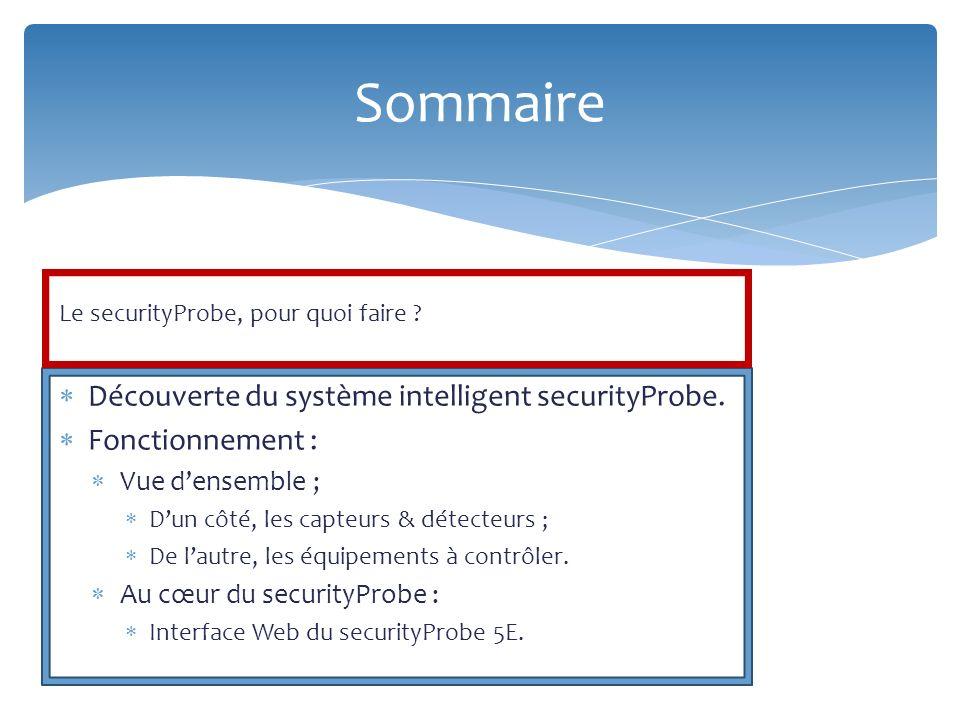 Sommaire Découverte du système intelligent securityProbe.