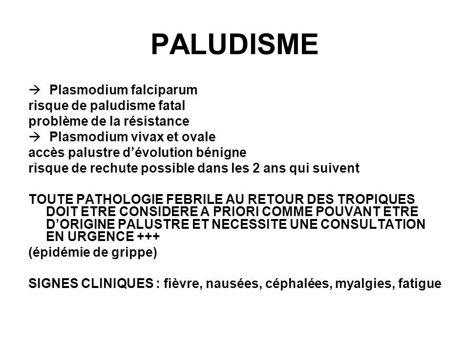 PALUDISME Plasmodium falciparum risque de paludisme fatal