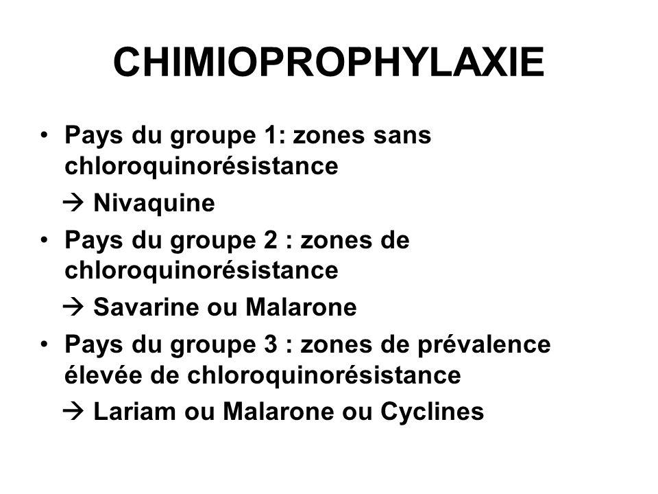 CHIMIOPROPHYLAXIE Pays du groupe 1: zones sans chloroquinorésistance