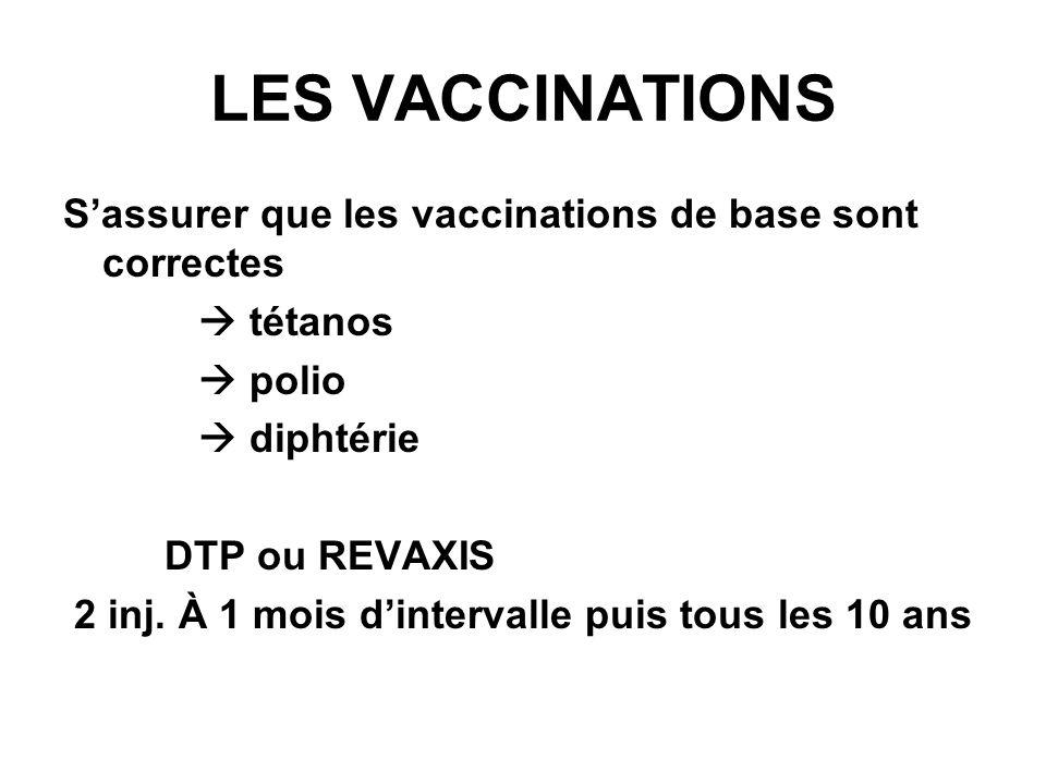 LES VACCINATIONS S'assurer que les vaccinations de base sont correctes