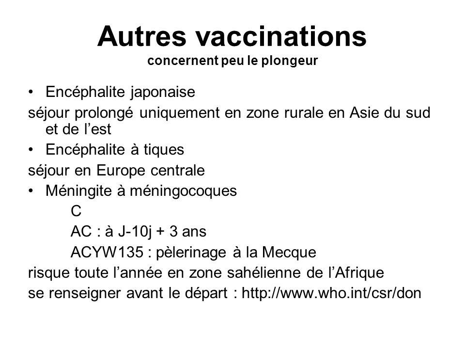 Autres vaccinations concernent peu le plongeur