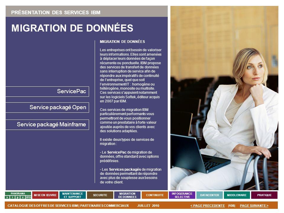 MIGRATION DE DONNÉES ServicePac Service packagé Open
