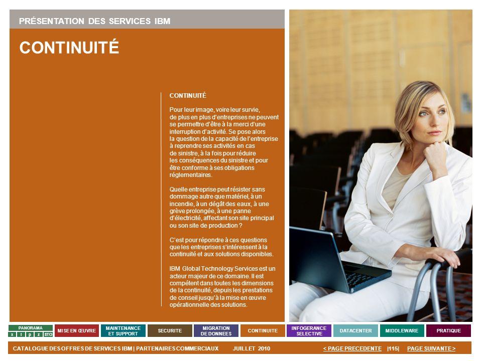 CONTINUITÉ PRÉSENTATION DES SERVICES IBM CONTINUITÉ