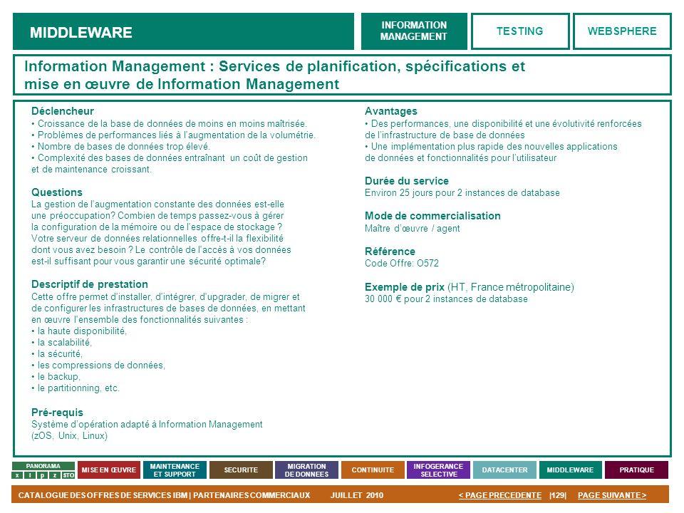 Information Management : Services de planification, spécifications et