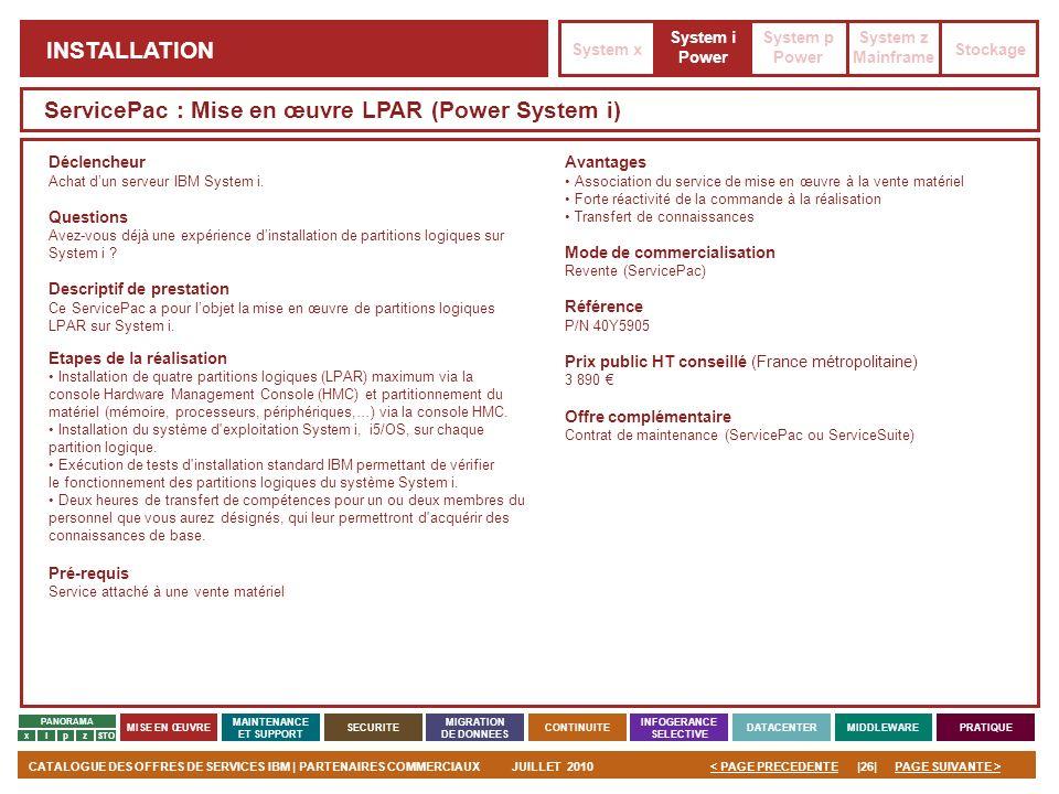ServicePac : Mise en œuvre LPAR (Power System i)