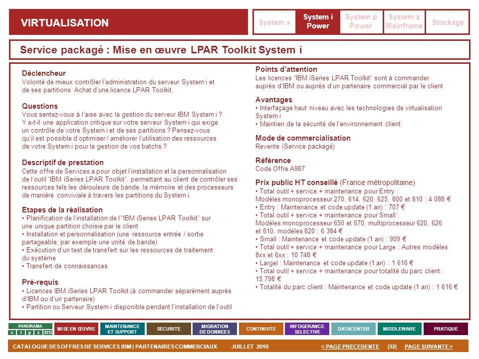 Service packagé : Mise en œuvre LPAR Toolkit System i