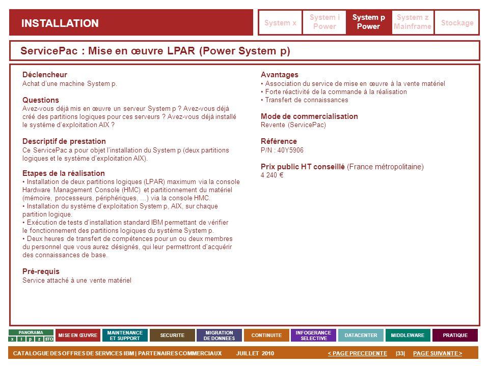 ServicePac : Mise en œuvre LPAR (Power System p)