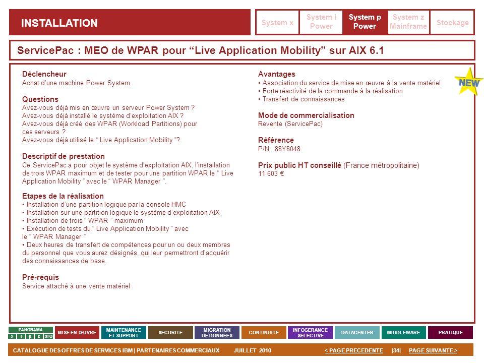 ServicePac : MEO de WPAR pour Live Application Mobility sur AIX 6.1