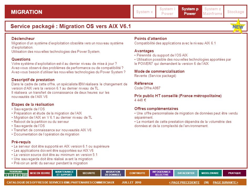 Service packagé : Migration OS vers AIX V6.1