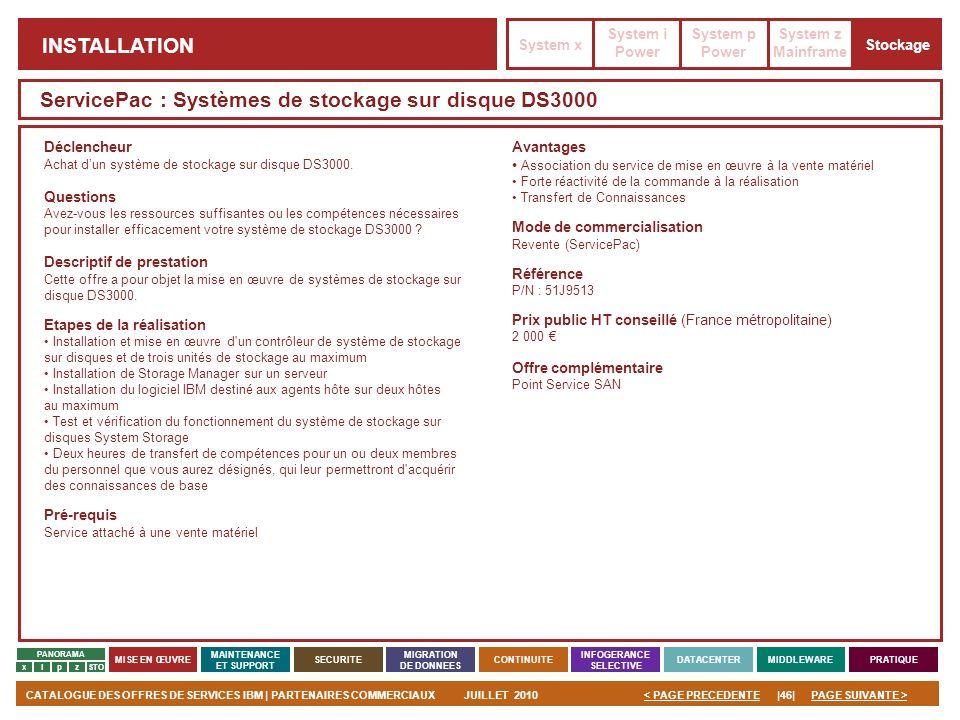 ServicePac : Systèmes de stockage sur disque DS3000