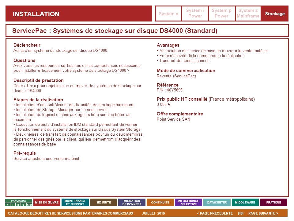 ServicePac : Systèmes de stockage sur disque DS4000 (Standard)