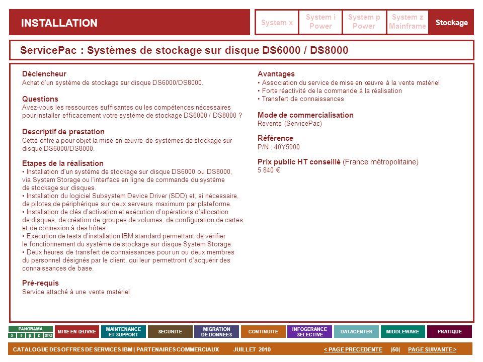 ServicePac : Systèmes de stockage sur disque DS6000 / DS8000