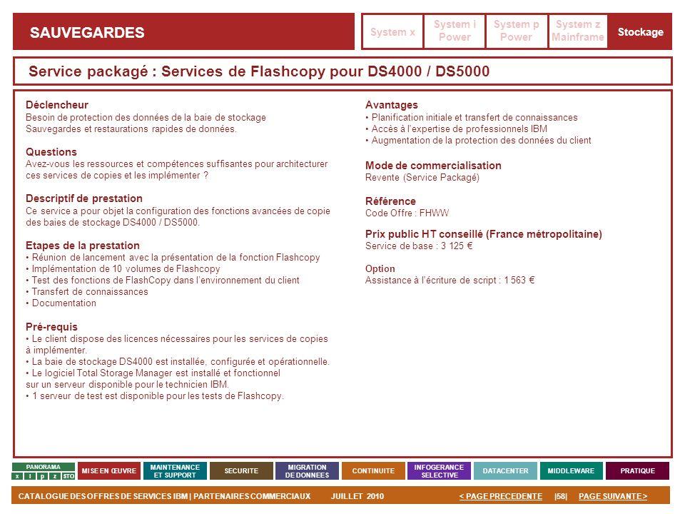 Service packagé : Services de Flashcopy pour DS4000 / DS5000