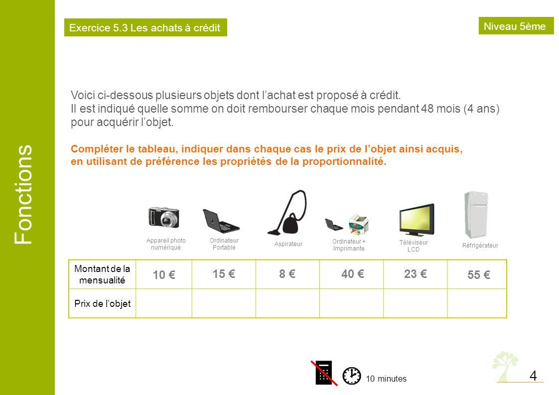 Exercice 5.3 Les achats à crédit