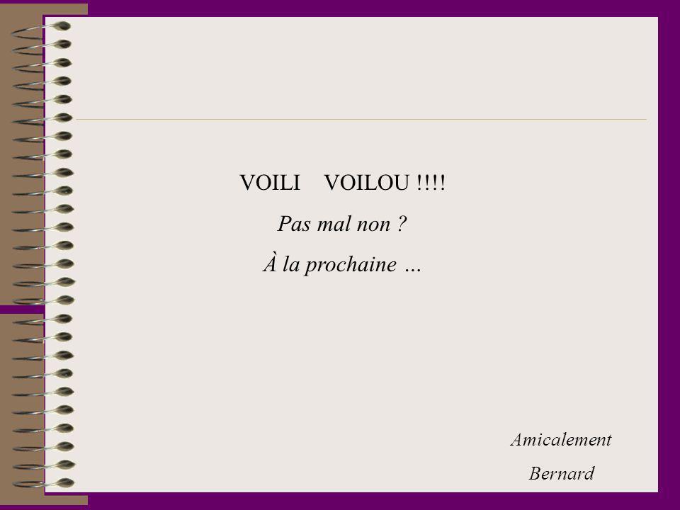 VOILI VOILOU !!!! Pas mal non À la prochaine … Amicalement Bernard