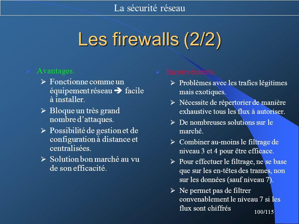 Les firewalls (2/2) La sécurité réseau Avantages.