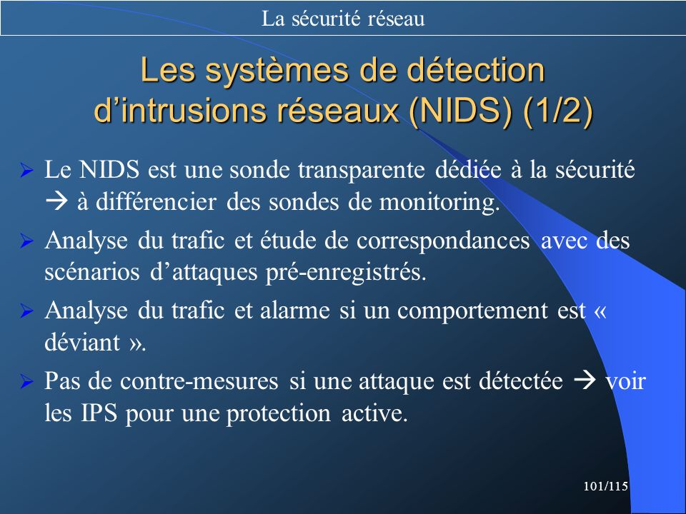 Les systèmes de détection d'intrusions réseaux (NIDS) (1/2)