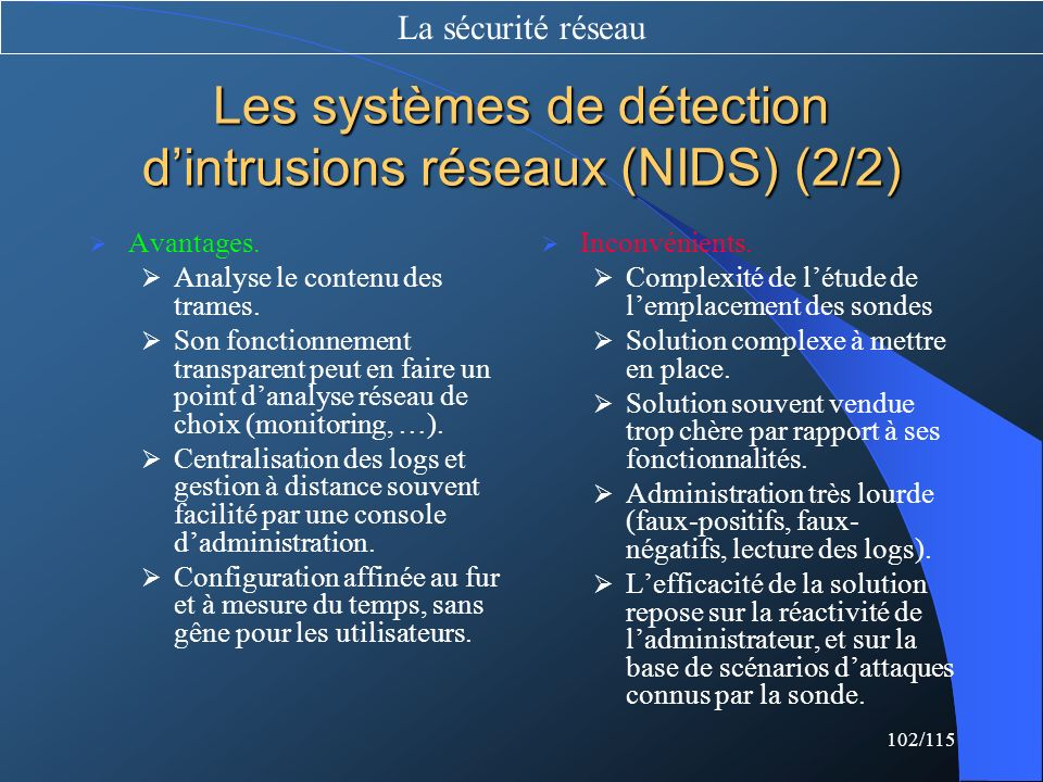 Les systèmes de détection d'intrusions réseaux (NIDS) (2/2)