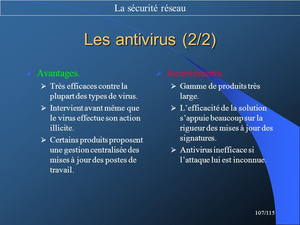 Les antivirus (2/2) La sécurité réseau Avantages. Inconvénients.