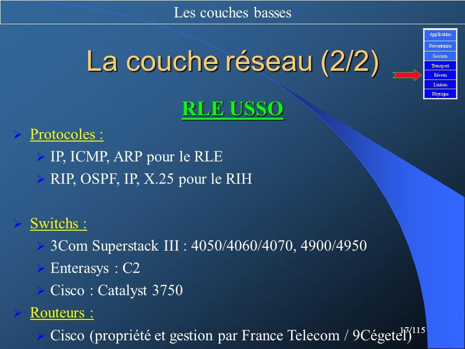 La couche réseau (2/2) RLE USSO Les couches basses Protocoles :