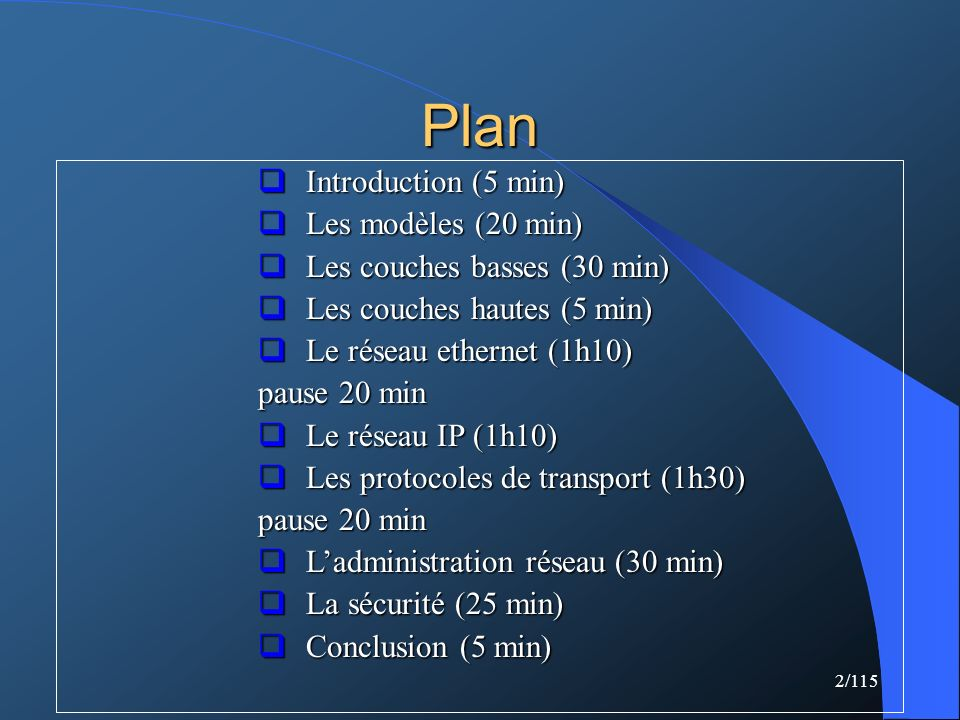 Plan Introduction (5 min) Les modèles (20 min)
