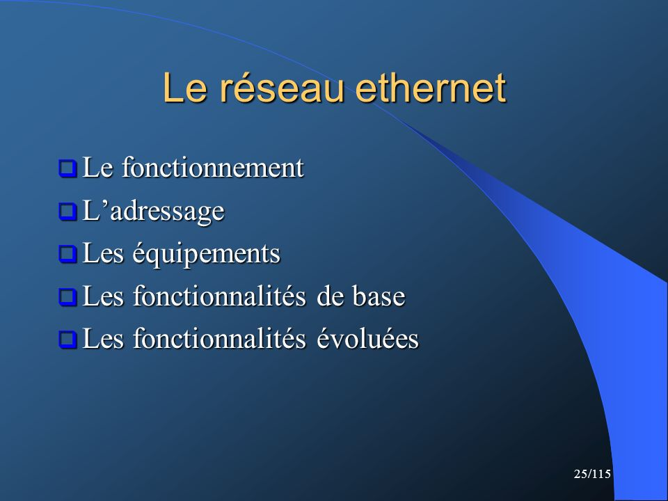 Le réseau ethernet Le fonctionnement L'adressage Les équipements