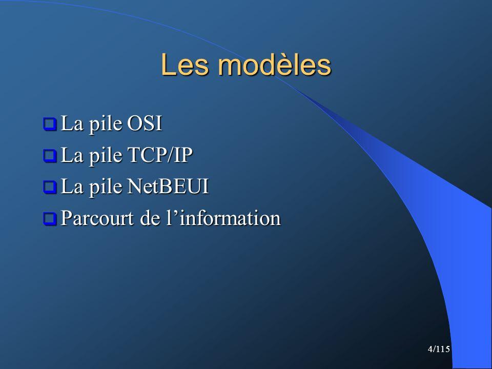 Les modèles La pile OSI La pile TCP/IP La pile NetBEUI