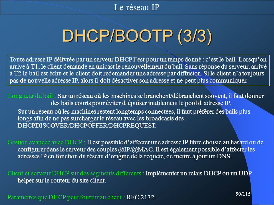 DHCP/BOOTP (3/3) Le réseau IP