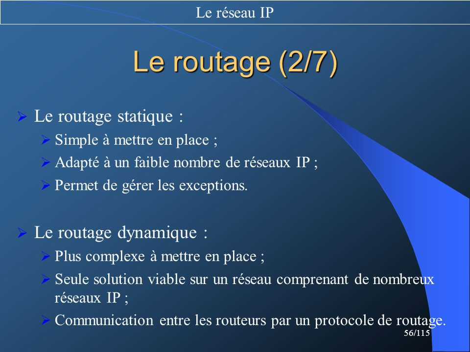 Le routage (2/7) Le routage statique : Le routage dynamique :