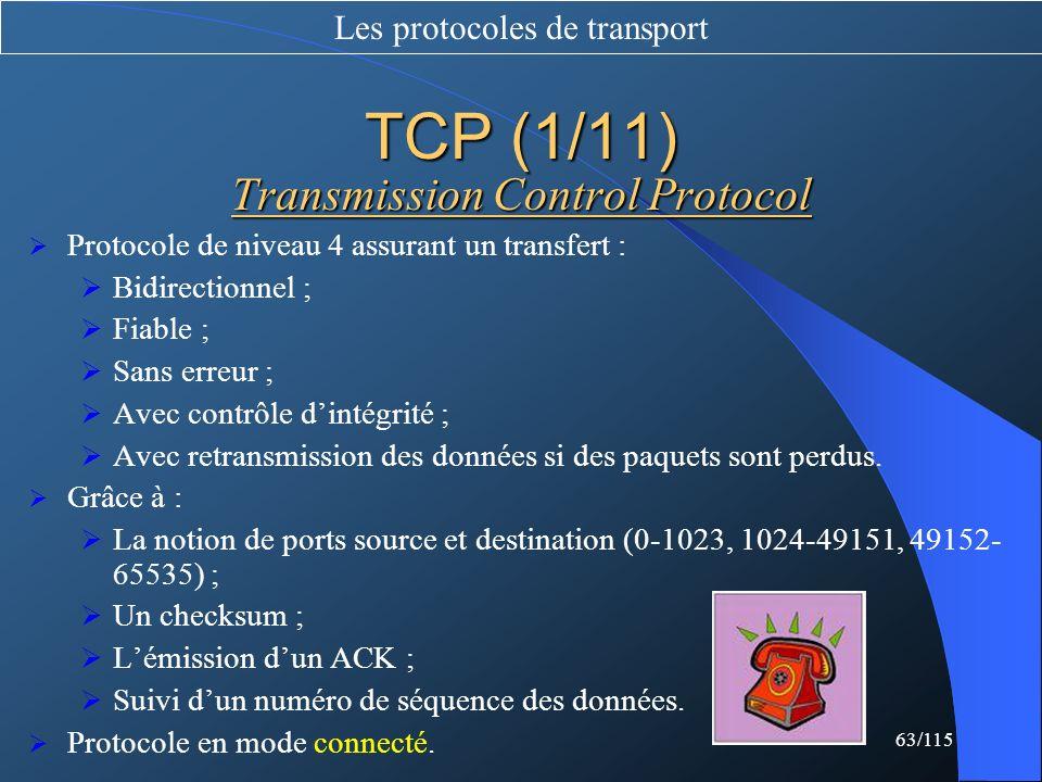 TCP (1/11) Transmission Control Protocol Les protocoles de transport