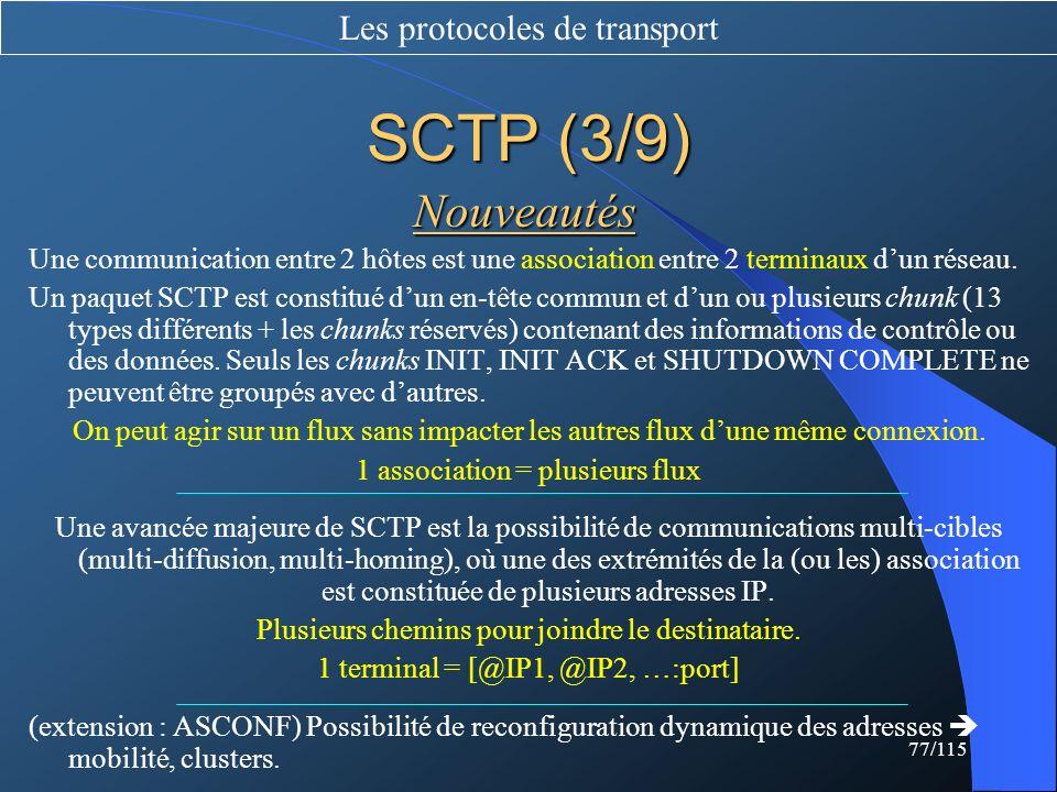 SCTP (3/9) Nouveautés Les protocoles de transport