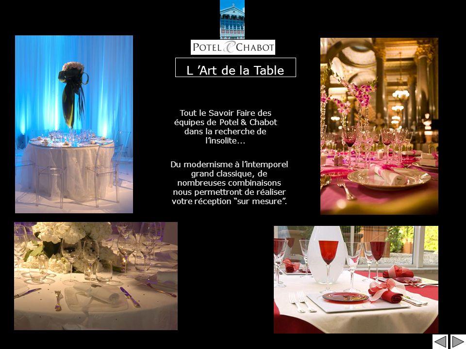 L 'Art de la Table Tout le Savoir Faire des équipes de Potel & Chabot dans la recherche de l'insolite...