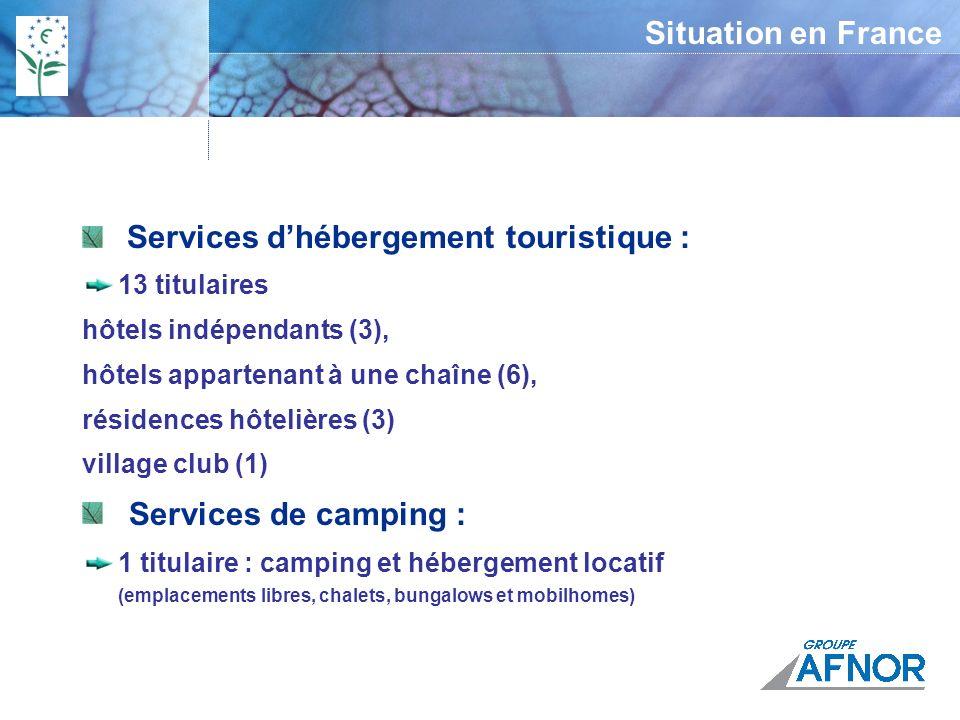 Services d'hébergement touristique :
