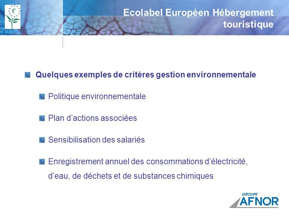 Ecolabel Européen Hébergement touristique