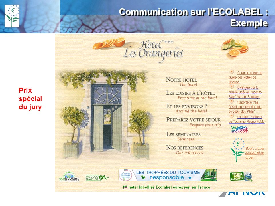 Communication sur l ECOLABEL : Exemple