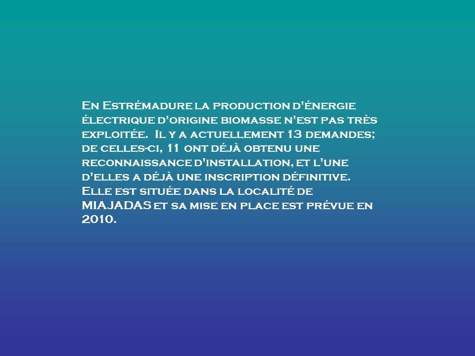 En Estrémadure la production d énergie électrique d origine biomasse n est pas très exploitée.