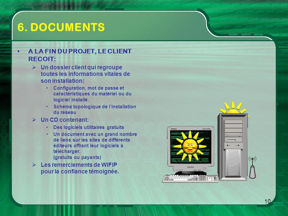 6. DOCUMENTS A LA FIN DU PROJET, LE CLIENT RECOIT: