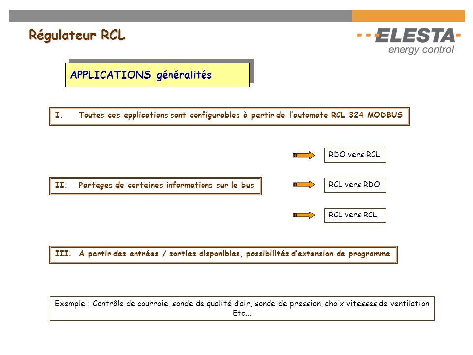 Régulateur RCL APPLICATIONS généralités